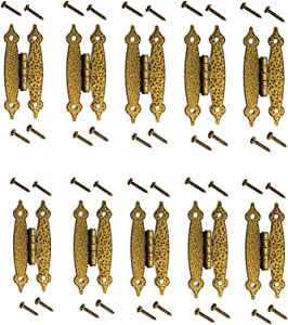 """10 Heavy Duty Hammered Antique Brass Gold Hinge - 3.5"""" Long Antique Cabinet Vintage Furniture Reproduction"""