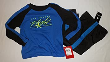 c201dc10ebc Image Unavailable. Image not available for. Color  Nike Air Jordan Flight  Logo Toddler Boys Blue Shirt Pants Outfit Set Size 2 2t