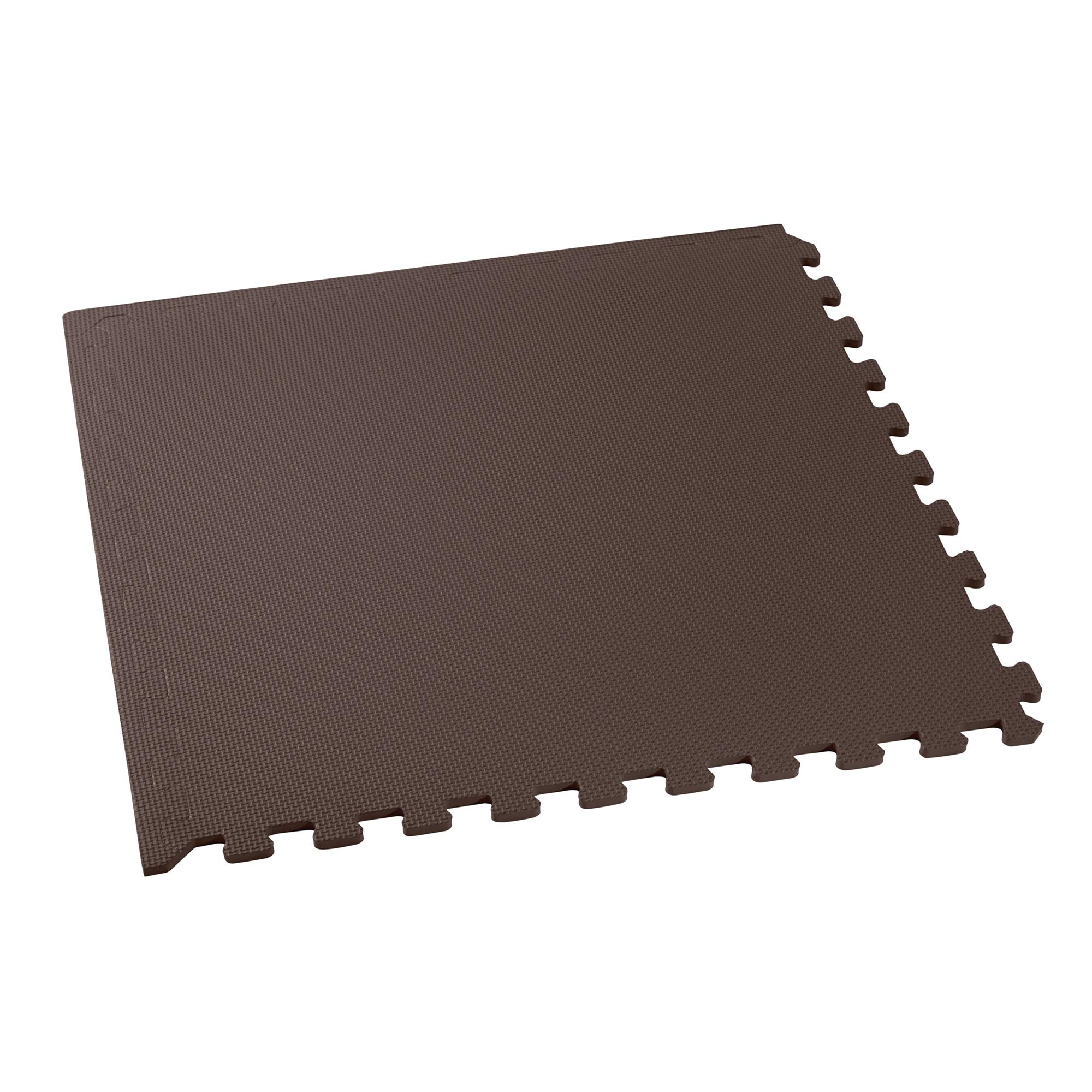 We Sell Mats Multipurpose Exercise Floor Mat with EVA Foam, Interlocking Tiles, Anti-Fatigue, for Home or Gym, 16 Square Feet (4 Tiles), 24 x 24 x 3/8 Inches, Brown