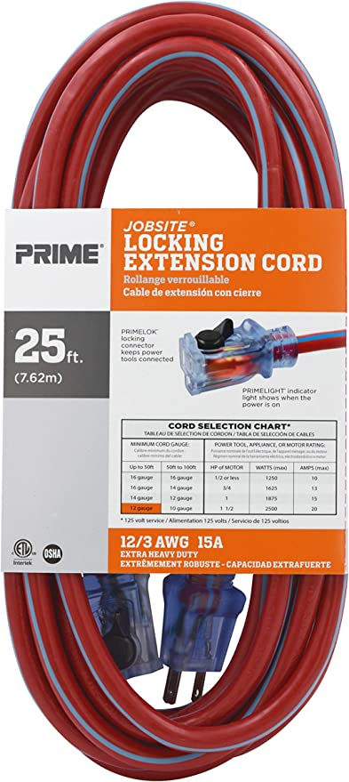 Prime Kcpl507825 25/' 12//3 Sjtw Red//Blue Jobsite Locking Extension Cord