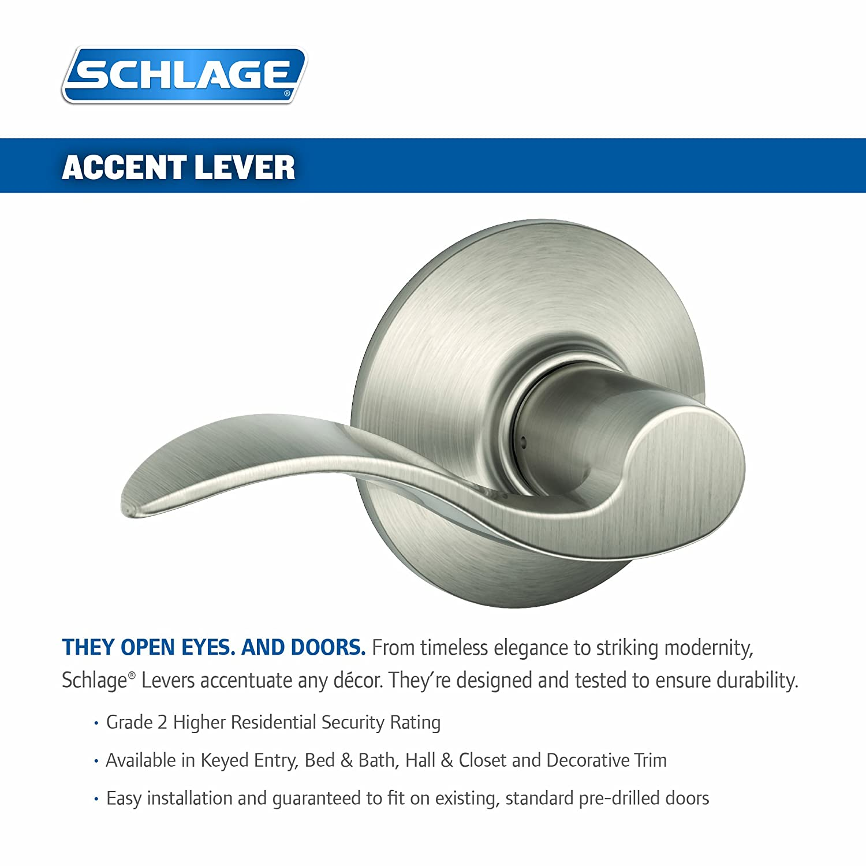 Schlage F40ACC619 Accent Privacy Lever Satin Nickel - Door Levers - Amazon.com