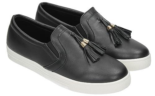 Womens Designer Casual Creeper Loafer Trainers Black Diamante Ladies Sneakers