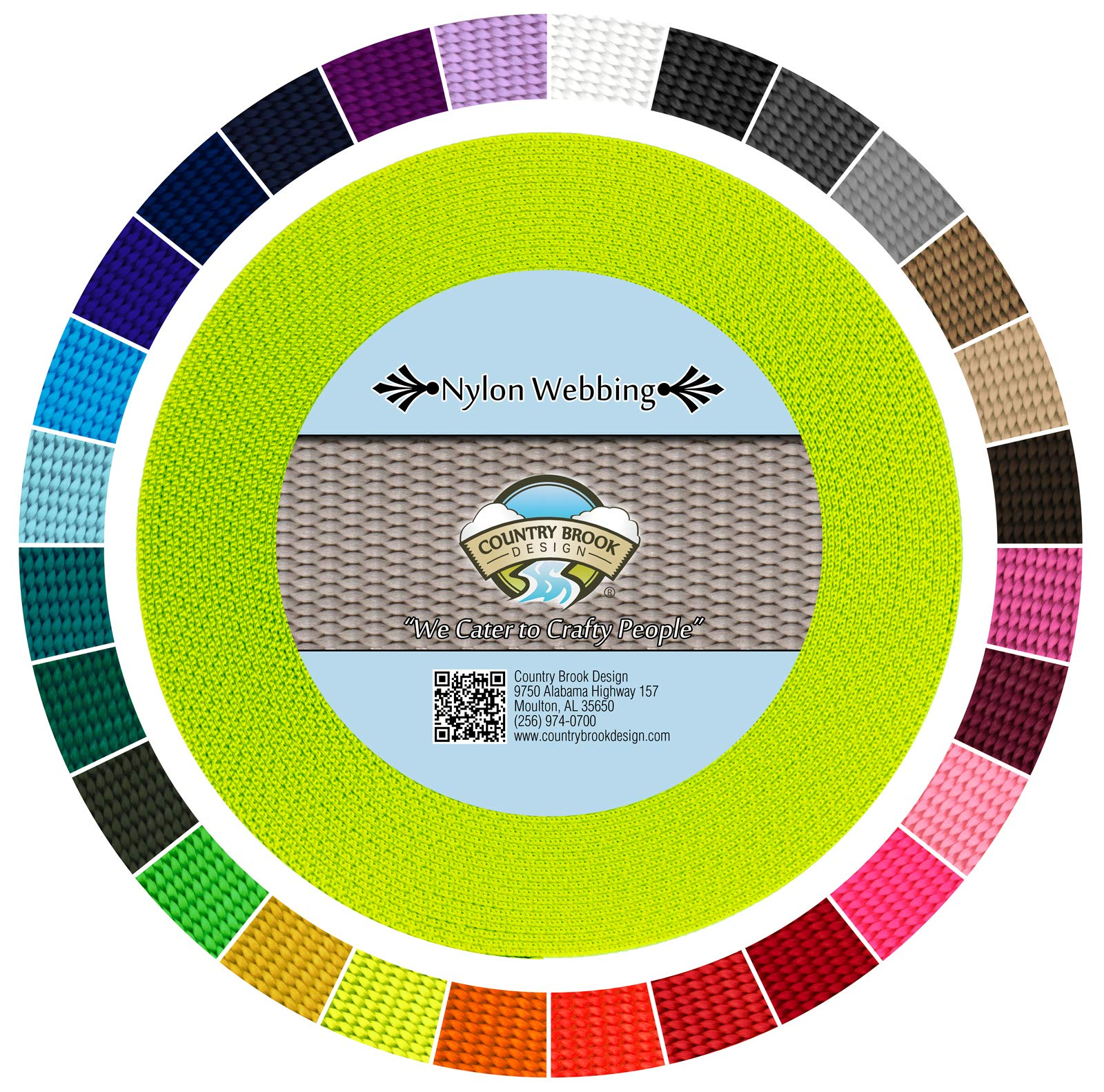 Country Brook Design - Nylon Webbing (Hot Yellow, 10 Yards, 3/4 Inch) by Country Brook Design