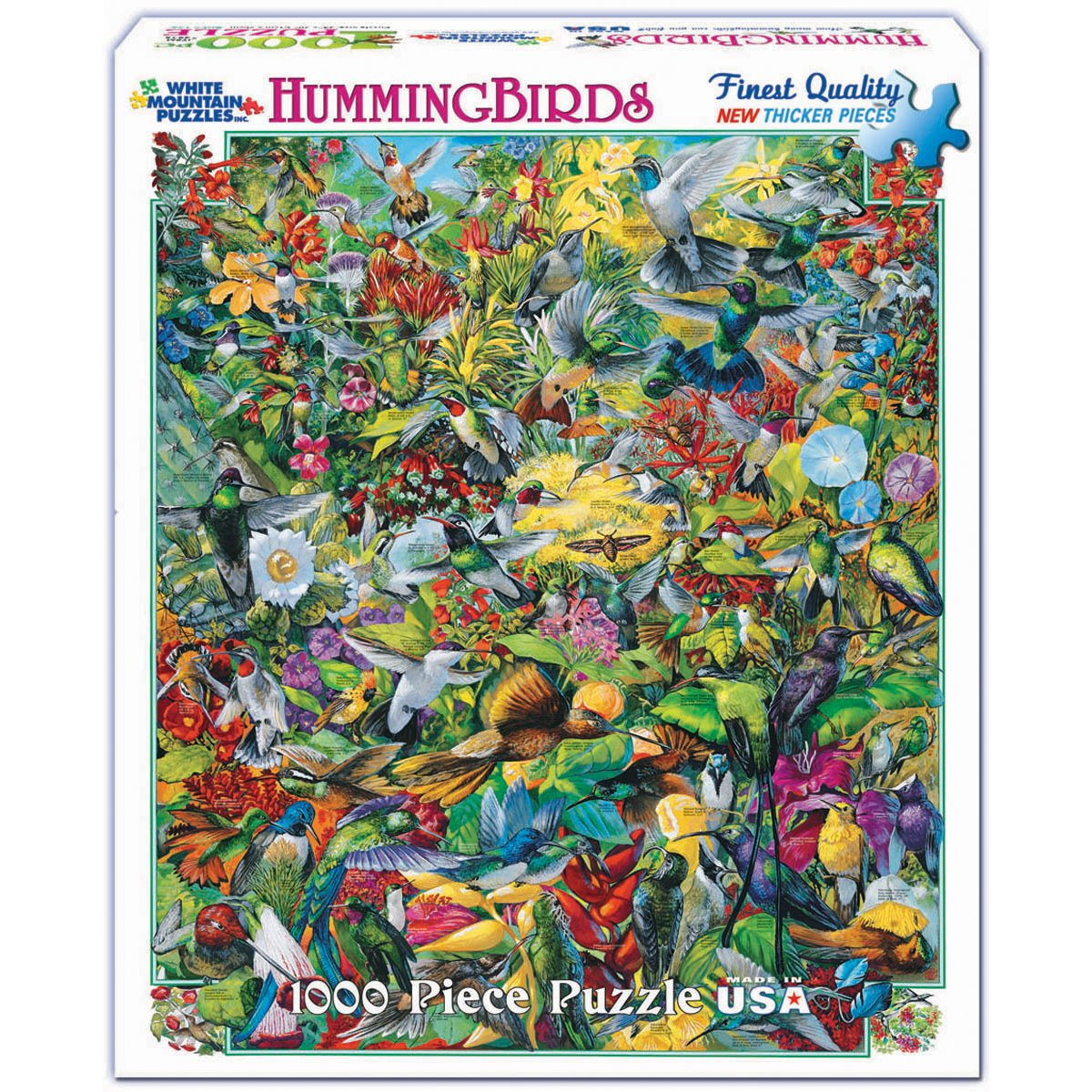 White Mountain Puzzles Hummingbirds - 1000 Piece Jigsaw Puzzle