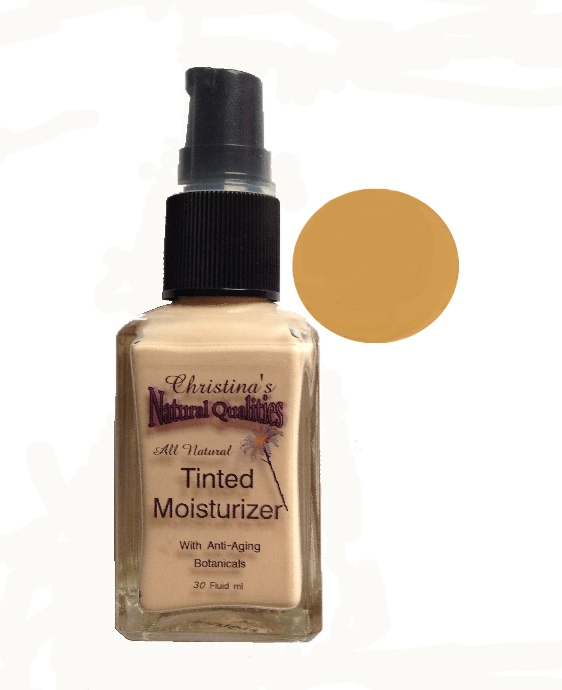 Tinted Moisturizer All Natural Herbal Liquid Foundation - 1oz. Medium Warm by Christina's Natural Qualities