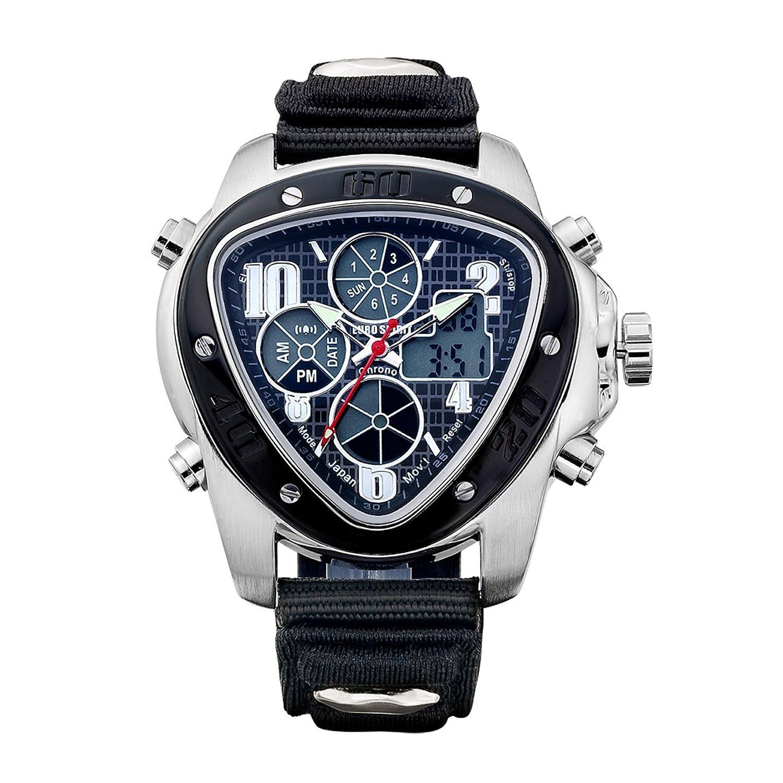 Euro Spirit Tag Datum New Herren Man schwarz silber Datum Display Quarz Armbanduhr