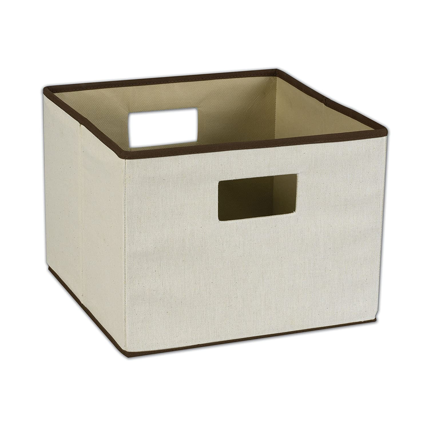 Amazon.com: Household Essentials Storage Bin With Handles, Natural Canvas  With Brown Trim: Home U0026 Kitchen