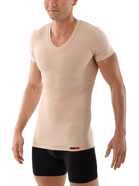 95fdc9a7b07f69 Albert Kreuz Shapewear shaping businss undershirt v-neck slim compression  vest invisible nude color  Amazon.co.uk  Clothing