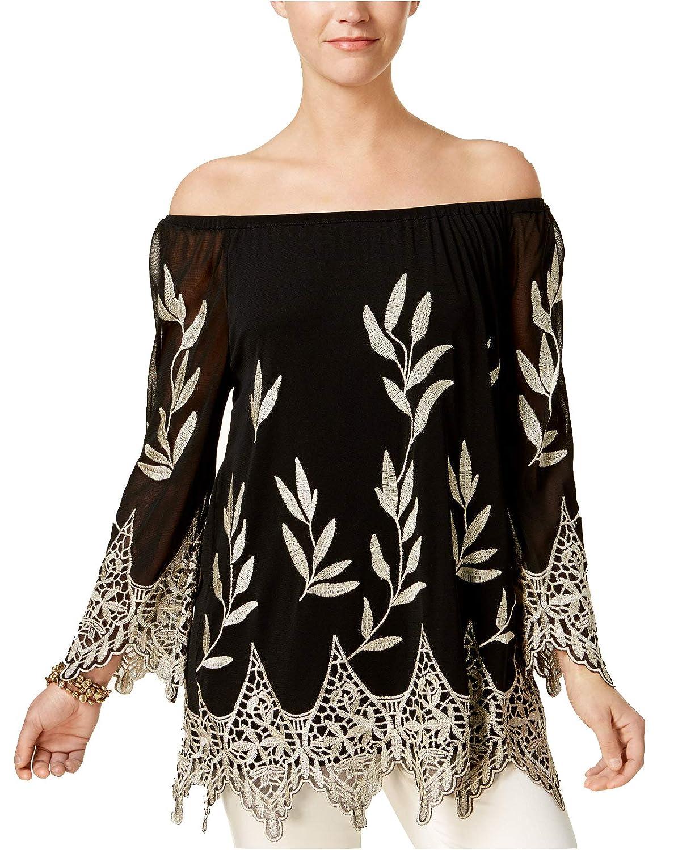 Deep Black Alfani Women's Embroidered OffTheShoulder Top