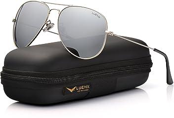 LUENX Herren Sonnenbrille Aviator Polarisiert mit Etui UV 400 Schutz Spiegel Dunkelblau Linse Silber Rahmen 60mm