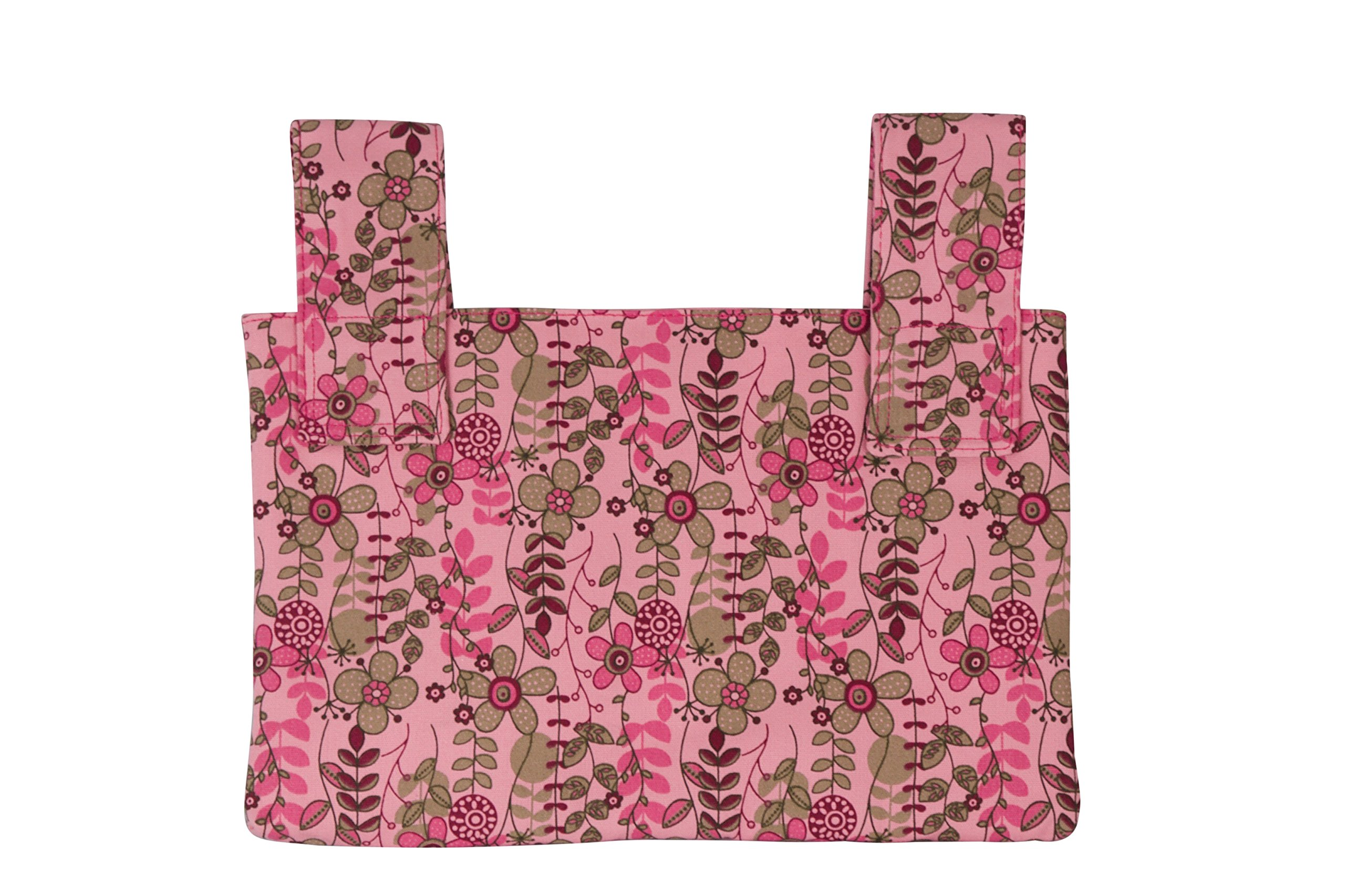 Qelse Designer Walker Bag 3-Pocket Tote Organizer Pouch PINK FLORAL Accessories for Beautiful Mobility