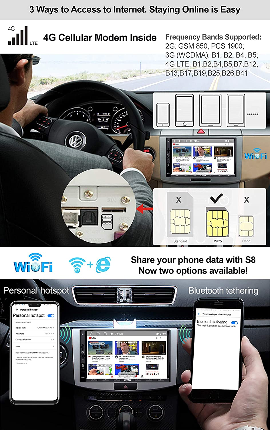 Wireless Phone Link Gesture Operation ATOTO S8 Android Car Stereo Entertainment System Support 512GB SD /& More Dual Bluetooth w//aptX HD Built-in 4G Cellular Modem Flagship S8 Ultra S8G2A78U