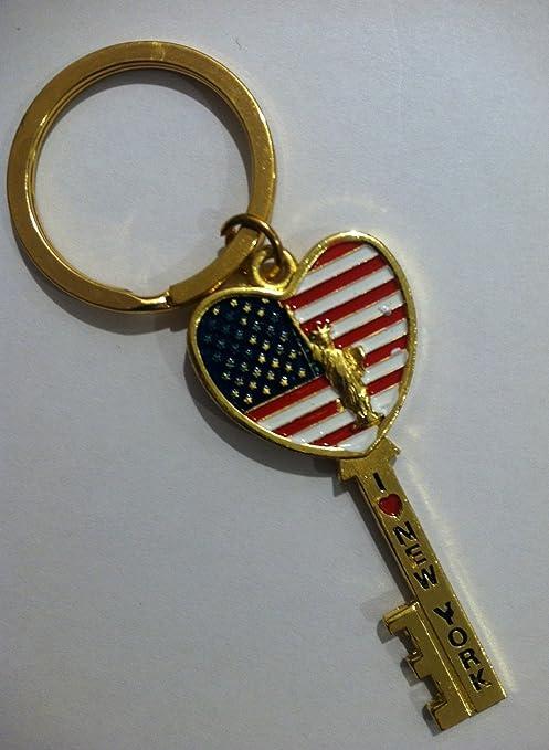 Amazon.com: Oro Shaped Key I Love New York con bandera ...