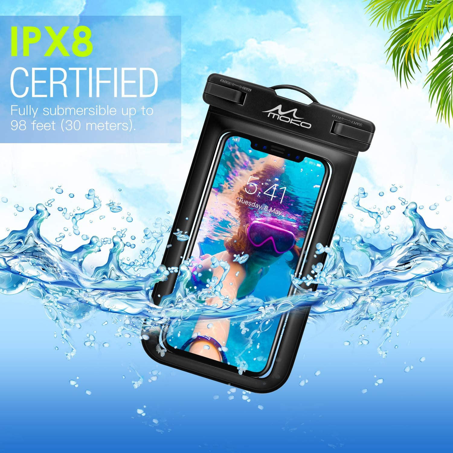 MoKo Waterproof Phone Pouch Note 10//9//8 S10e Samsung S10//S9//S8 Plus 2 Pack A10E X//Xs//Xr//Xs Max 8//7 Plus Underwater Phone Case Dry Bag with Lanyard Compatible with iPhone 11//11 Pro//11 Pro Max
