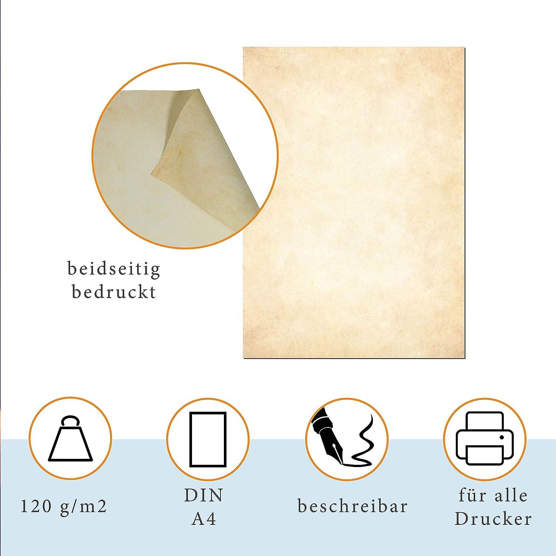 Vintage Hell, 25 + 25 B/ögen + Umschl/äge Motivpapier Urkundenpapier Urkunde Speisekarte Liebesbrief Presentou Briefpapier beidseitig Bedruckt 120 Gramm Papier