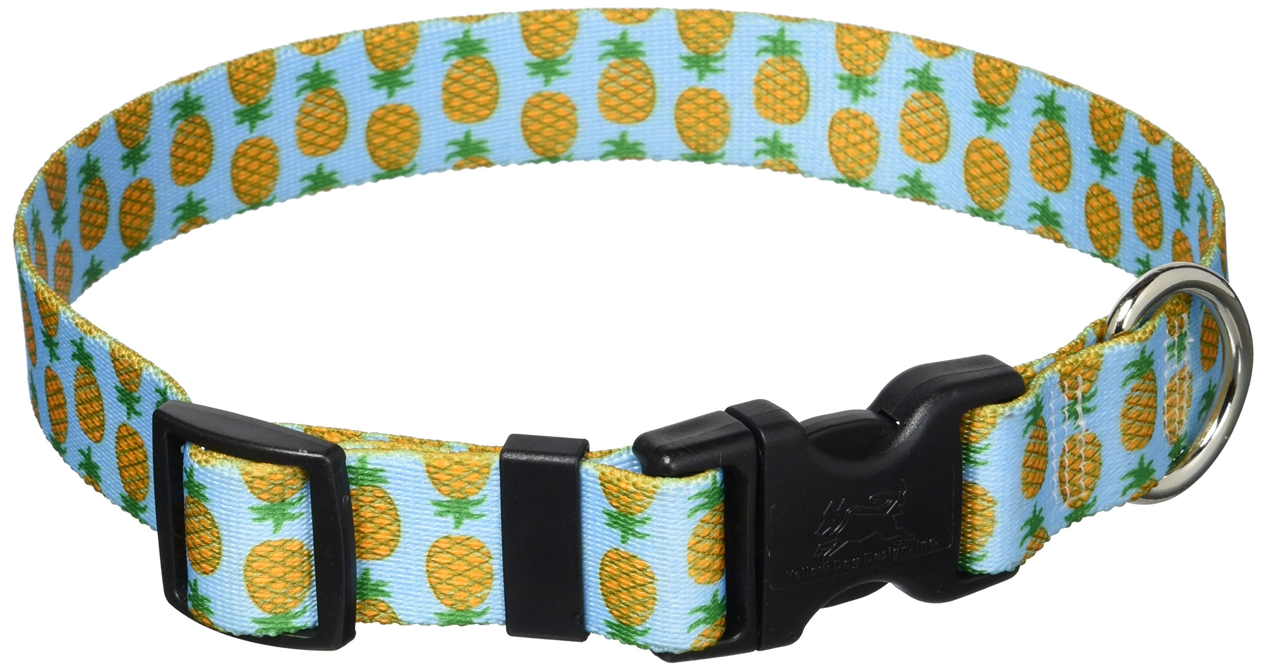 Yellow Dog Design Pineapples Blue Dog Collar, Medium-1'' Wide fits Neck Sizes 14 to 20'' Wide by Yellow Dog Design