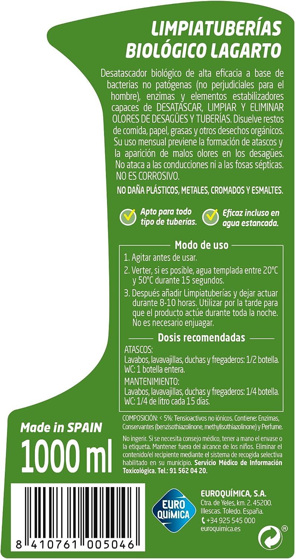 Lagarto Limpiatuberias - Biologico - Paquete de 10 x 1000 ml - Total: 10.000 ml: Amazon.es: Salud y cuidado personal