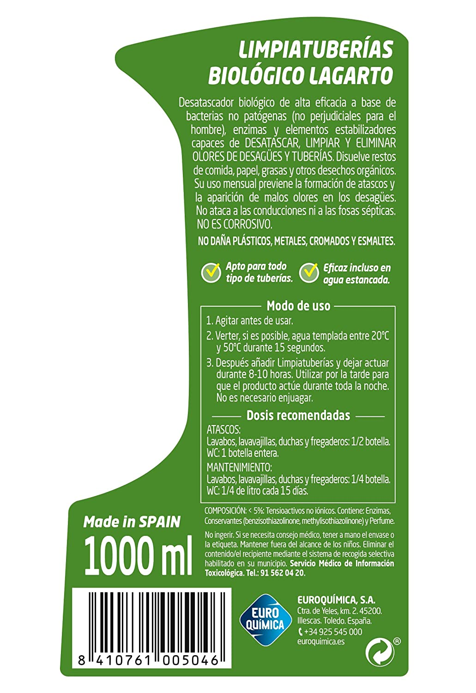 Lagarto Limpiatuberias - Biologico - Paquete de 10 x 1000 ml - Total: 10.000 ml