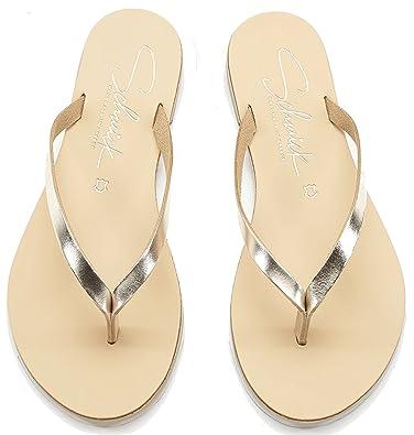 Schmick Shoes Flip Flops Luca: Damen Leder Zehentrenner Sandalen Sommerschuhe Flacher Absatz Handgefertigt Größe: 41, Farbe: Gold/Natural