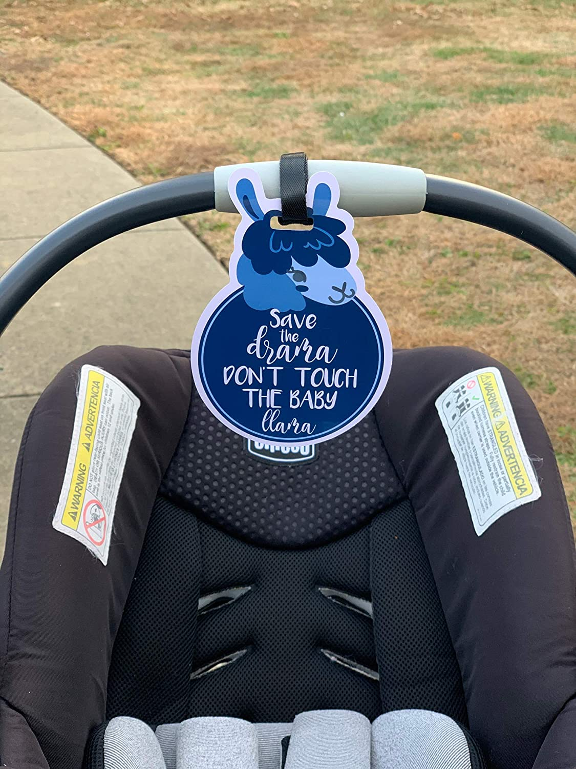 THREE LITTLE TOTS CPSIA Safety Tested Pink Llama Animal Theme No Touching Baby Car Seat Sign or Stroller Tag