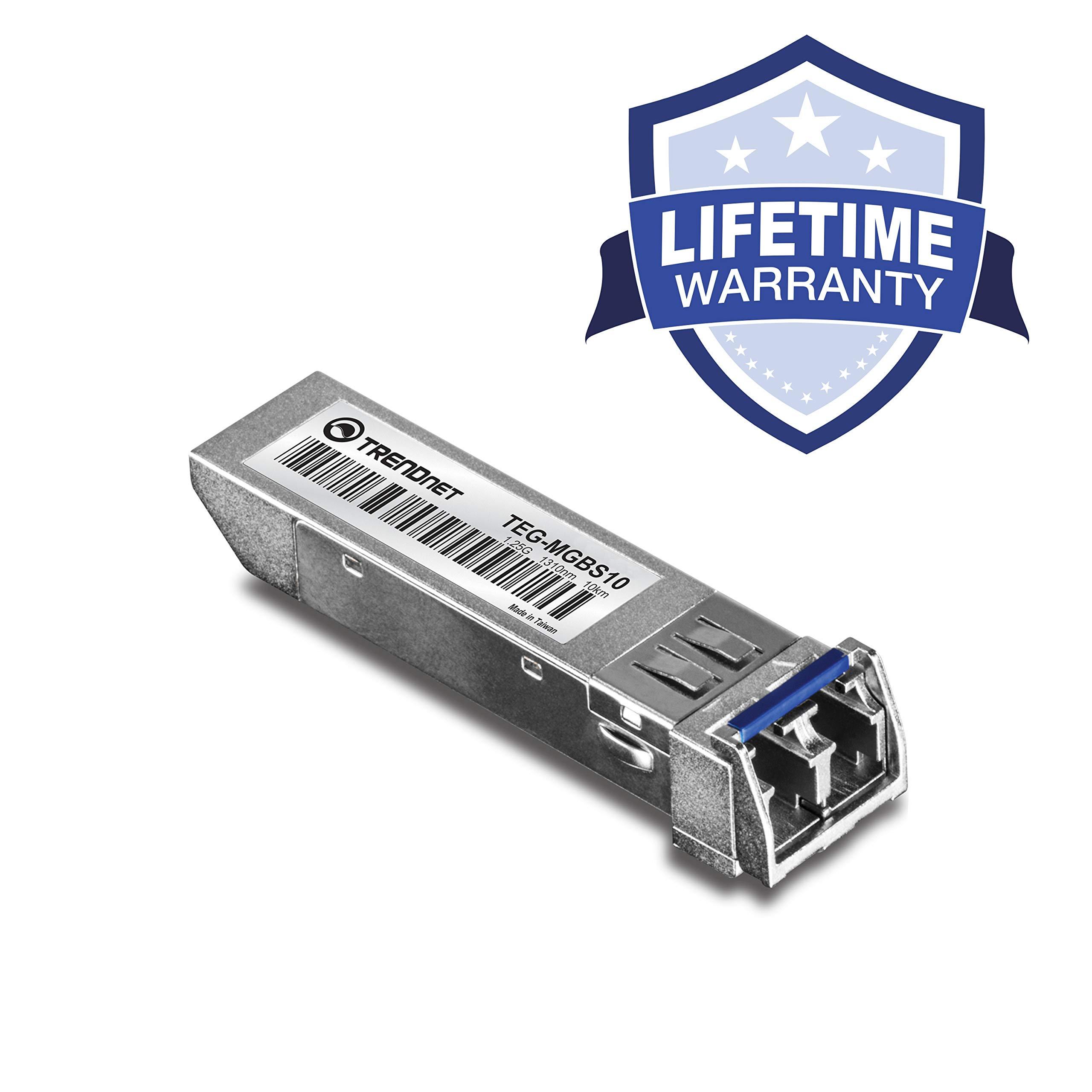 TRENDnet Gigabit SFP Module, Single-Mode, Mini-GBIC, Up to 10 km, Lifetime Protection, TEG-MGBS10