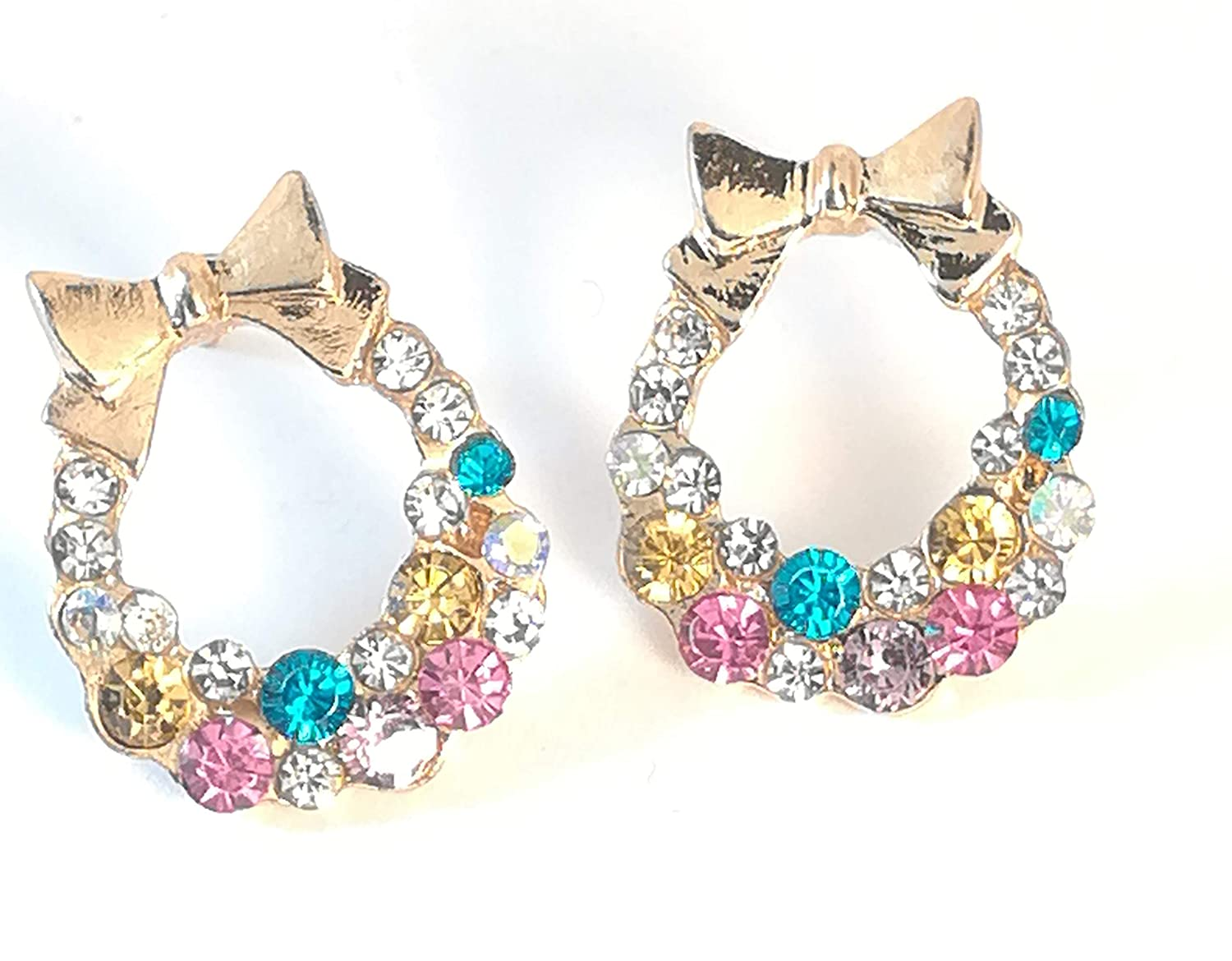 IDB Colorful Imitation Crystal//Rhinestone Bow Stud Earrings Dainty and Beautiful with an Approx Size of 11//16 inches 0.67 inches // 17 mm