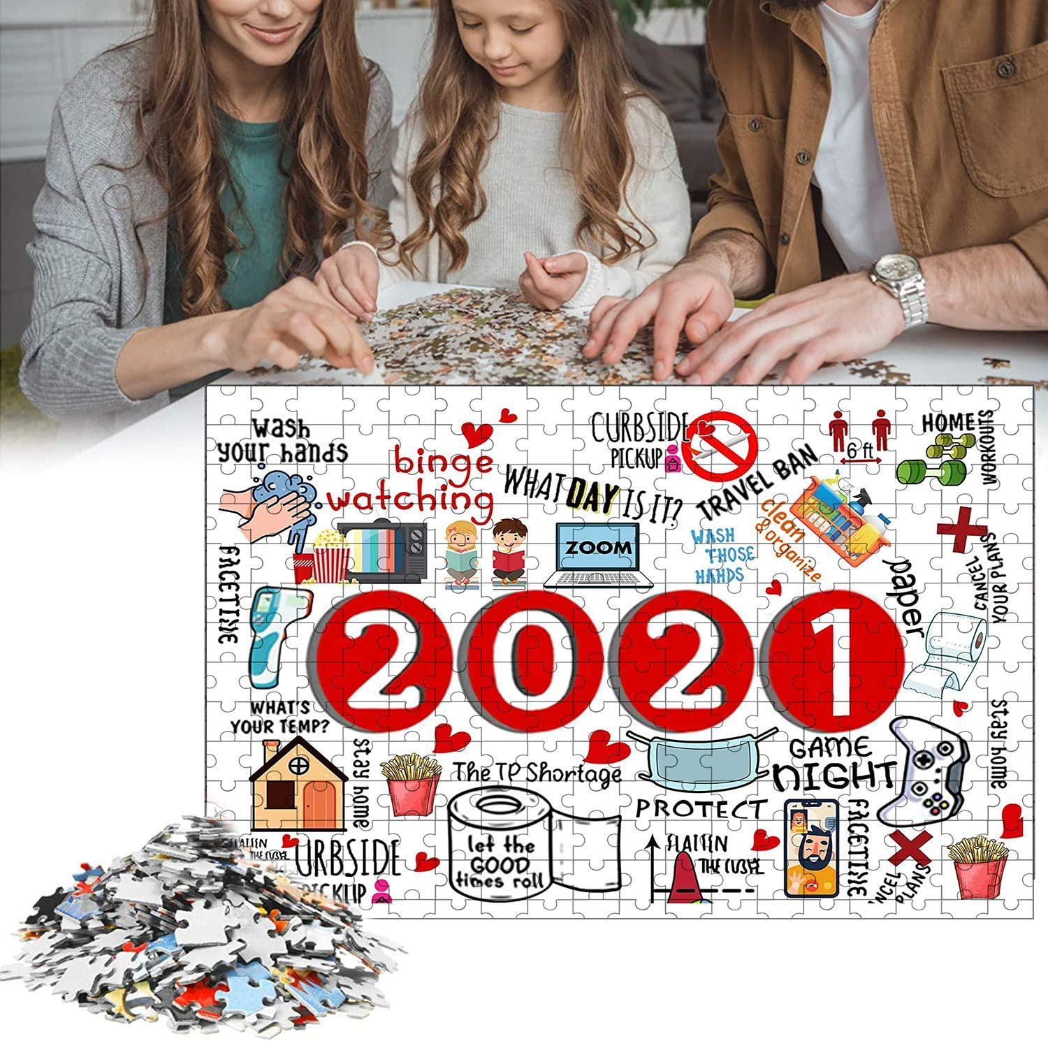 Christmas Paper Puzzles with Friend Or Family DIY Stress Relief Game Play Collection Home Decorations Puzzles for Adults 1000 Piece Jigsaw to 2021Commemoration Jigsaws Puzzle Adult and Children