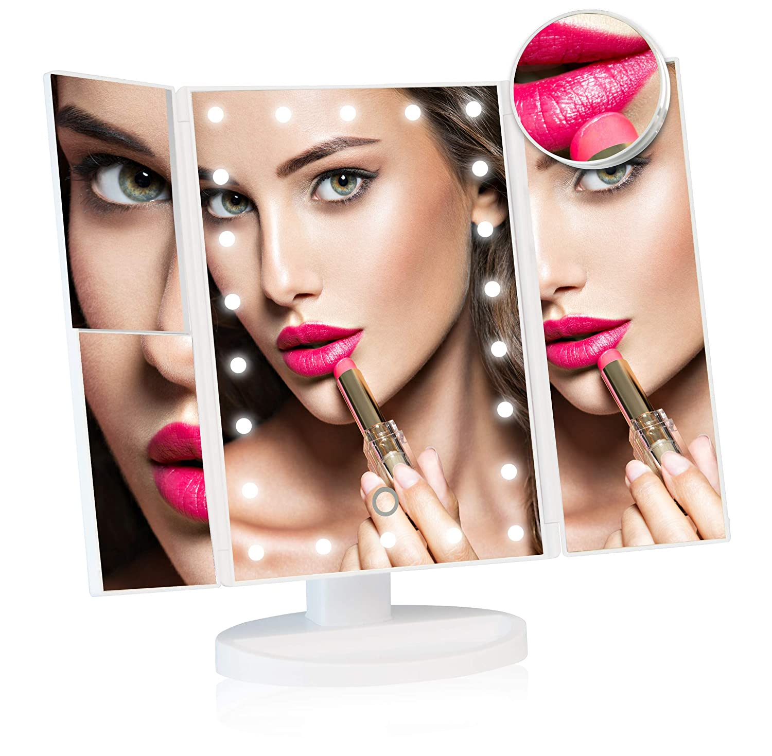 52fbcb0a1c8 Dressing Table Makeup Mirror with Light  Make Up and Shaving Free-Standing  Magnifying Vanity Mirror with Dimmer