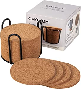 CRCHOM 16 pack Cork Coasters with Metal Holder 4 Inch Thick Absorbent Natural Cup Coasters Heat Resistant for Cold Drinks, Wine Glasses, Cups & Mugs