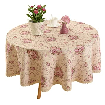 Vintage Flower Decorative 70u0026quot; Round Linen Tablecloth By HIGHFLY    Printed Pattern Washable Table Cloth