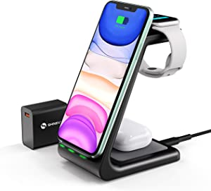 SHINEVI Wireless Charger Stand, 3 in 1 Qi-Certified Wireless Charging Station for Apple Watch 5/4/3/2 AirPods Pro,Fast Charger Dock for iPhone 11 Pro Max/X/XS/XR/Xs Max/8Plus Samsung S20 S10 S9 S8 S7