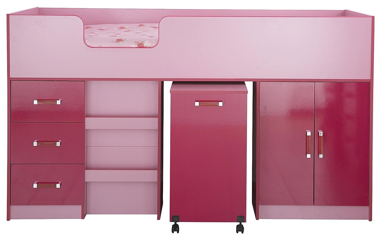 Hochbett mit Speicher in pink