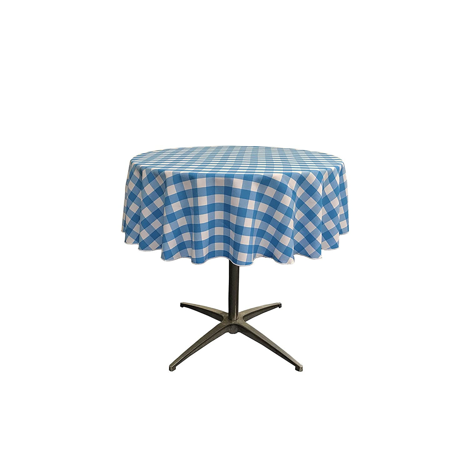 Amazon.com: LA Linen Poly Checkered Round Tablecloth, 51-Inch, Red ...