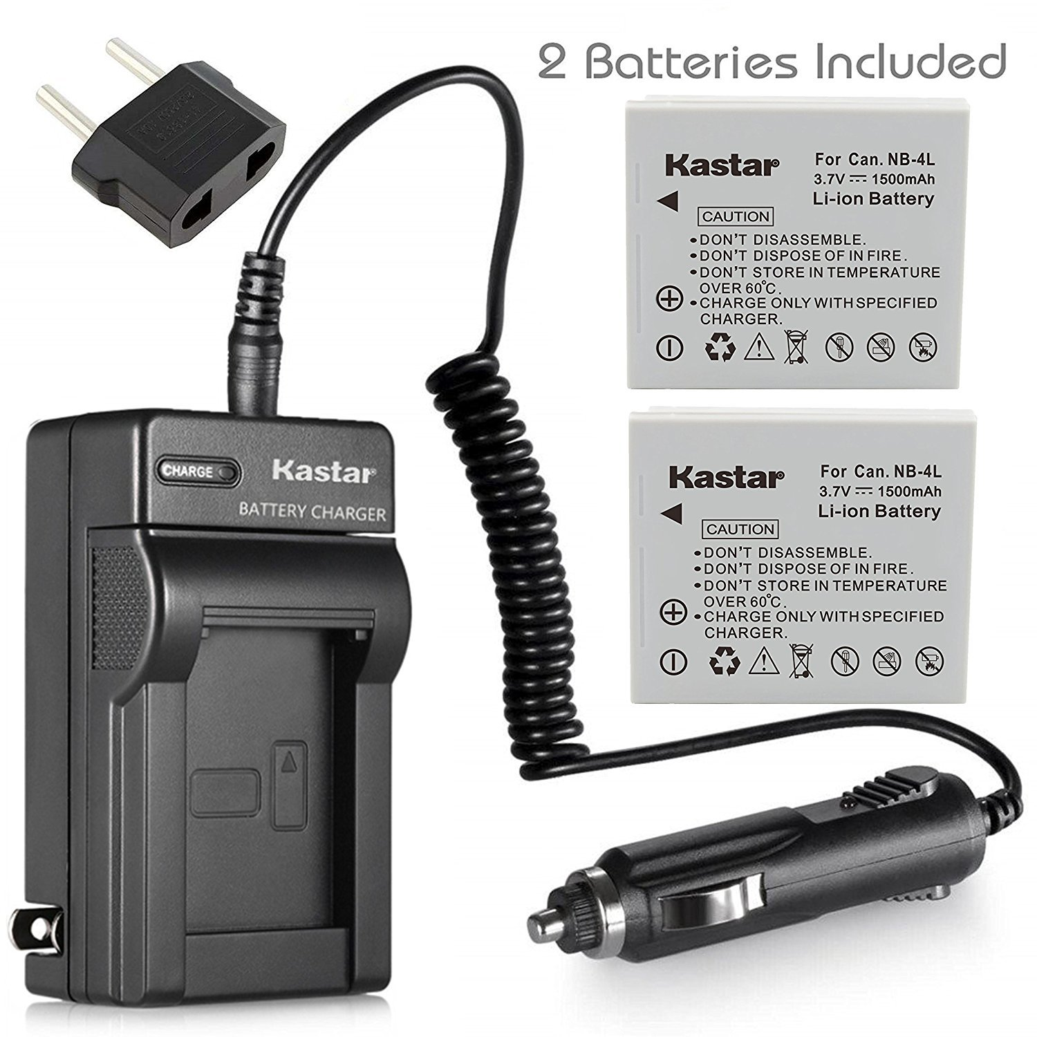 Kastar Battery Charger with Car Charger and 2 Battery for Canon Powershot TX1 SD750 SD1000 SD780 IS SD1400 IS ELPH 100 HS ELPH 300 HS ELPH 310 HS ELPH 330 HS as NB-4L NB4L NB-4LH NB4LH CB-2LV