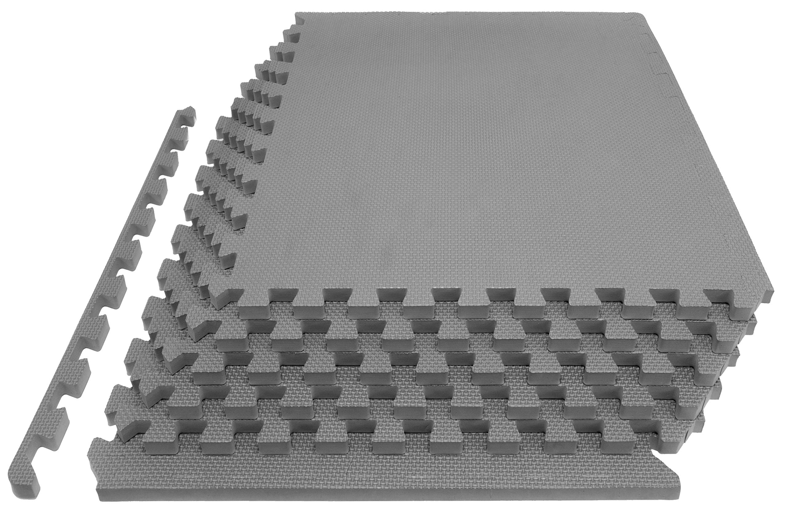 """Prosource Fit Extra Thick Puzzle Exercise Mat 1"""", EVA Foam Interlocking Tiles for Protective, Cushioned Workout Flooring for Home and Gym Equipment, Grey"""