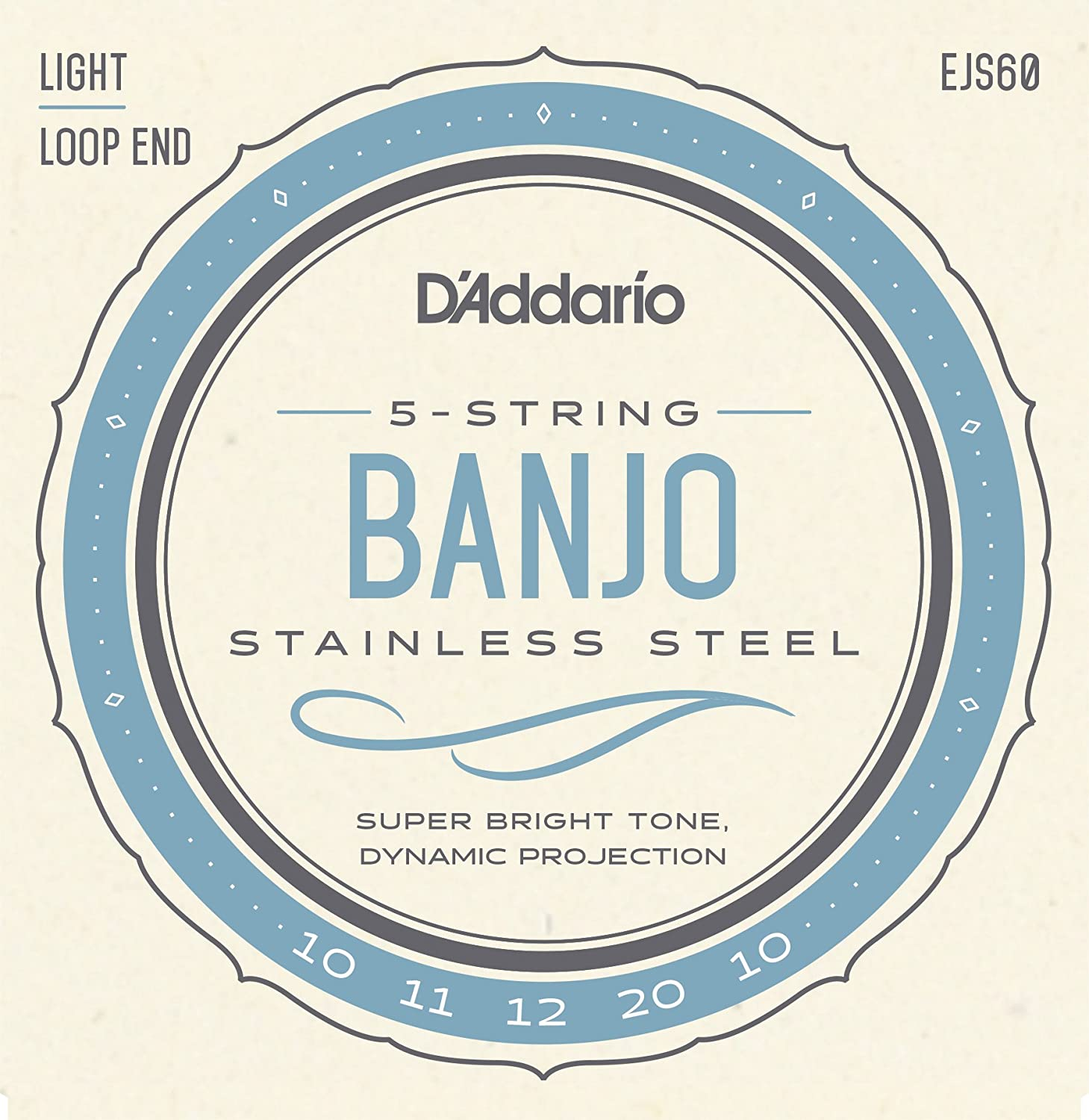 D'Addario EJS60 Stainless Steel 5-String Banjo Strings, Light, 9-20 D' Addario