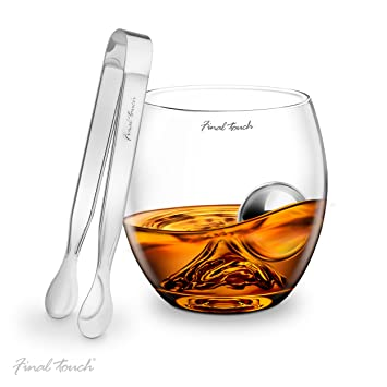 Final Touch Stainless Steel Edition On The Rocks Drinking Glass Set -Includes Whiskey Glass, Stainless Steel Ball & Tongs - Gift Boxed by Final Touch