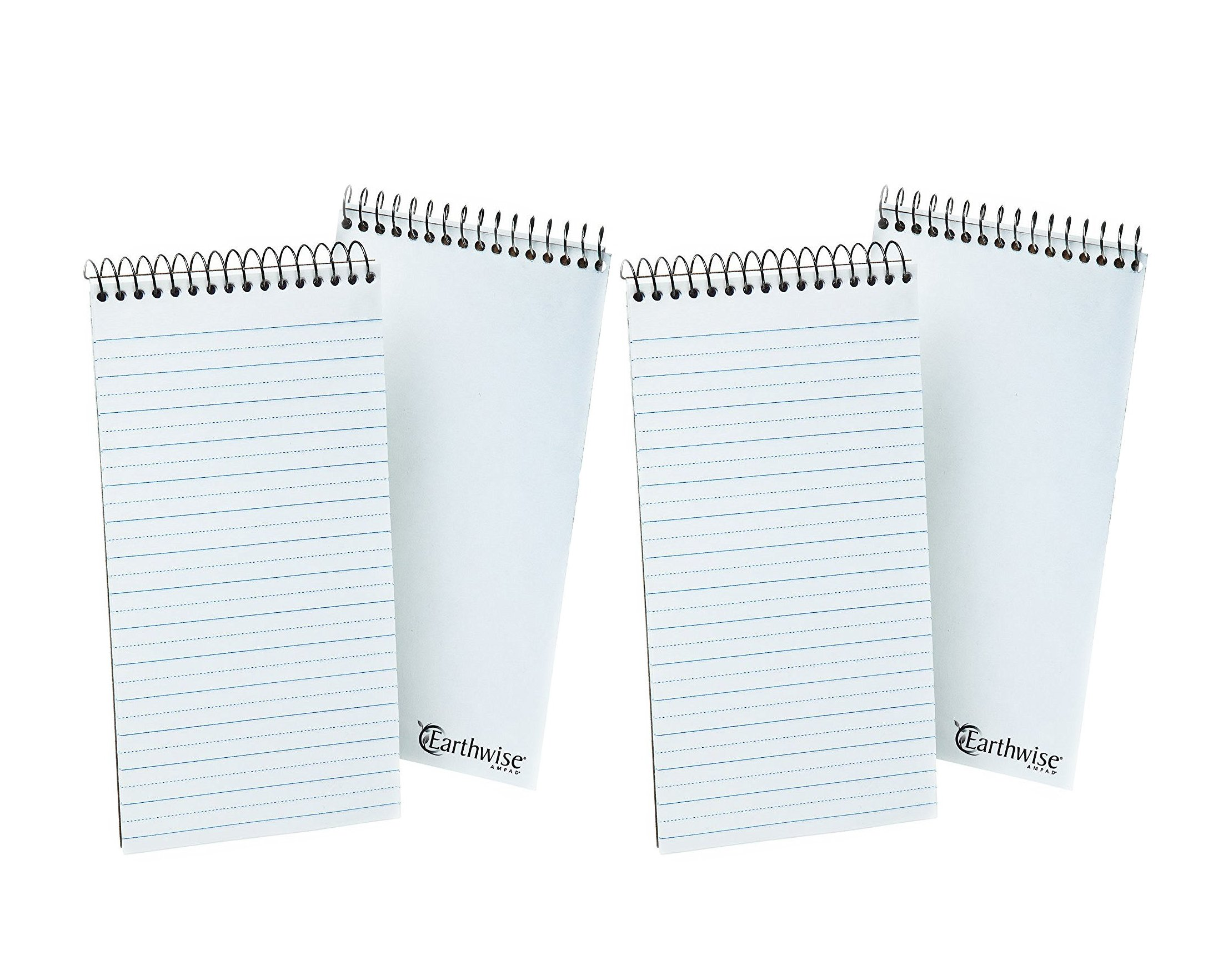 EarthWise by Ampad Reporters Notebook, 4 x 8 Inches, 70 Sheets, Pitman Ruled, 4-Pack (25-282R) White