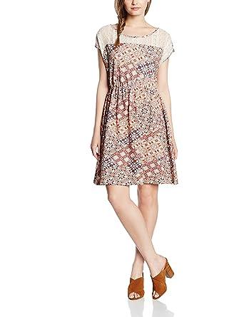 edc by ESPRIT Damen Kleid 046CC1E023-mit Spitzendetails, Braun (Camel 230),  36 (Herstellergröße  S)  Amazon.de  Bekleidung 7619e4062c