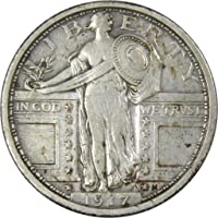 1917 Type 1 25c Standing Liberty Silver Quarter Coin F Fine Details