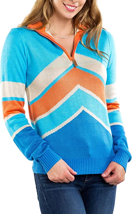 80s Sweatshirts and Sweaters Tipsy Elves Womens Retro Winter-Themed Ski Snow Zip-Up Sweaters for Ladies $35.00 AT vintagedancer.com
