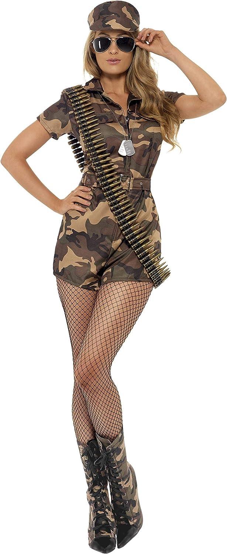 Smiffys- Miffy Disfraz de Mujer Soldado Sexy, Camuflaje, con Mono de Pantalones Cortos, cinturó, Color, M - EU Tamaño 40-42 (28864M)
