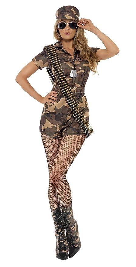 1db3bde28652 Smiffys Costume ragazza dell'esercito sexy, mimetico, con tutina, cintura e  cappello