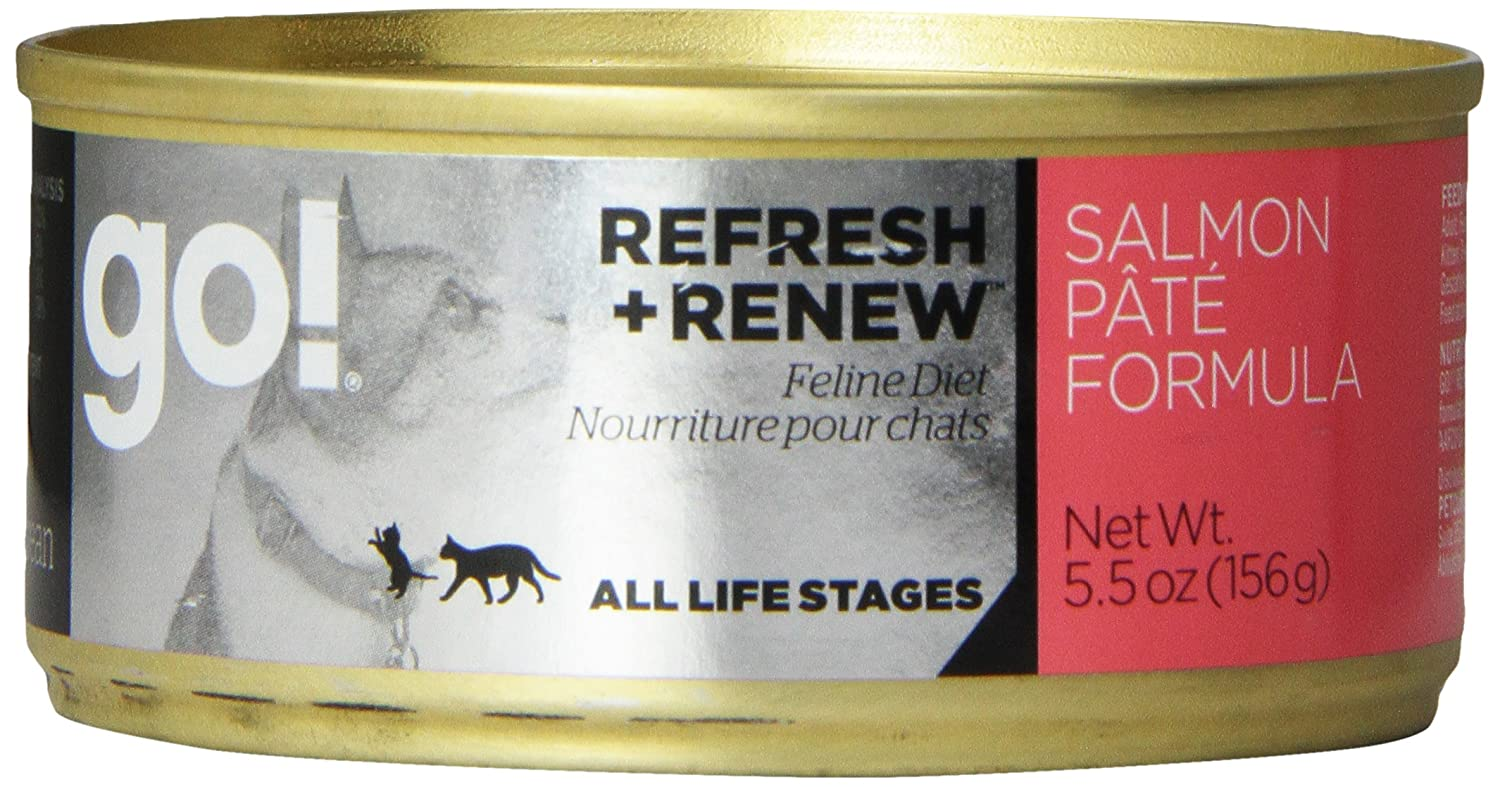Petcurean 152039 24-Pack Go Daily Defence Salmon Pate Can for Cat, 5.5-Ounce