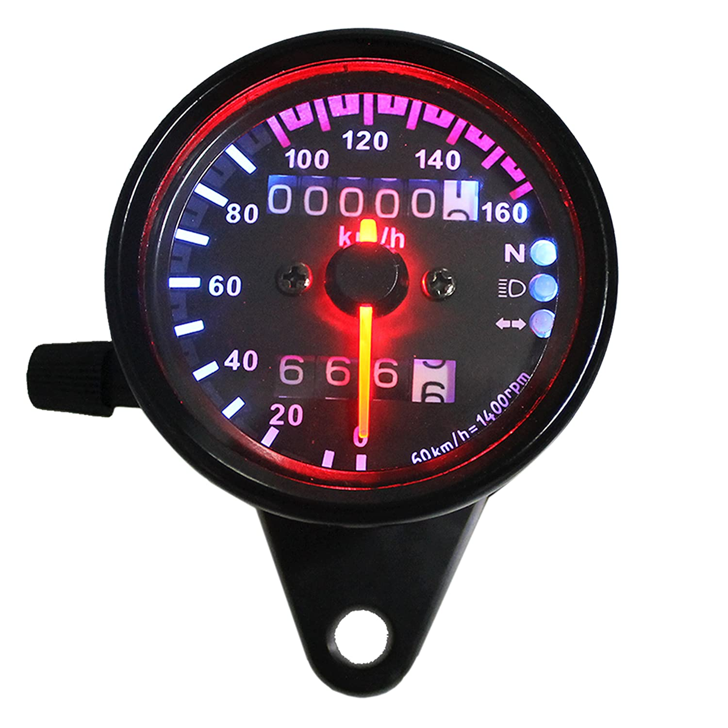 Ambuker LCD Digital Speedometer Tachometer Odometer MPH//KMH 124MPH// 199kmh 12000 rpm for 4 stroke 1//2//4 Cylinders Motorcycle