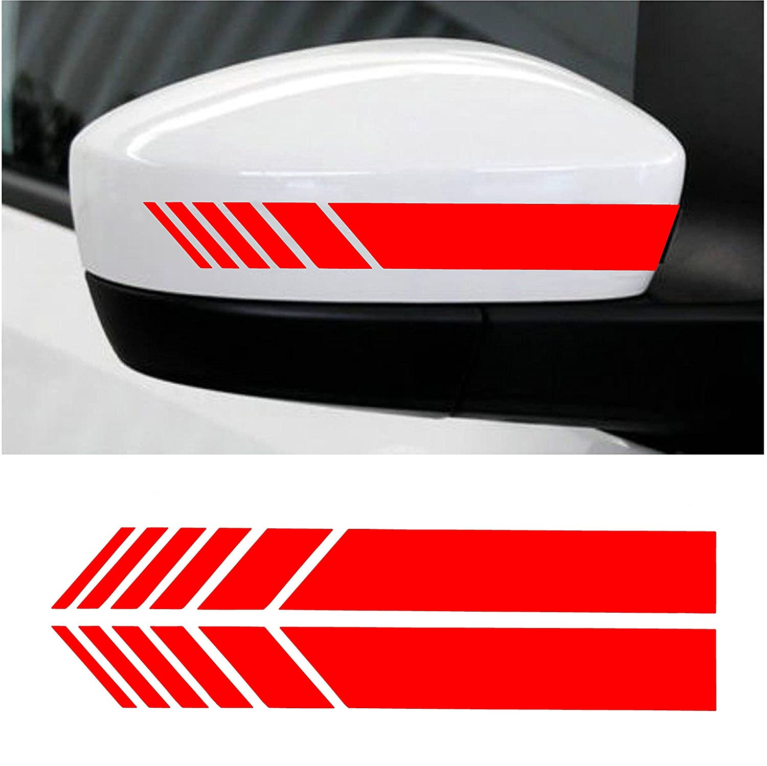 Cvanu car rearview mirror strip sticker vinyl racing decal emblem red for honda brv amazon in car motorbike