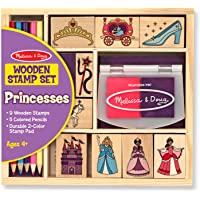 Melissa & Doug Wooden Princess Stamp Set:  9 Wooden stamps. 5 Colored Pencils, and Durable 2-color stamp pad