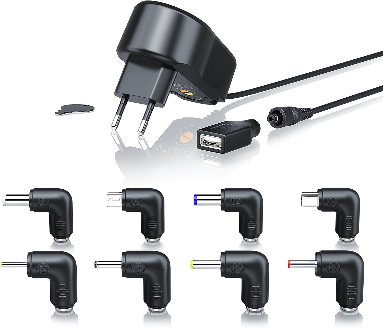 CSL-Computer 2A Fuente de alimentación de Corriente Cargador Universal - Adaptador de Viaje - Universal Power Supply - USB Mini y microUSB Conector Hueco 3 4,5 5 6 7,5 9 - Negro