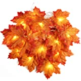 Beetest 2M 20 LED Artificial Autumn Maple Leaves String Wire Lights Fall Garland Battery Operated Decoration for Christmas Thanksgiving Halloween