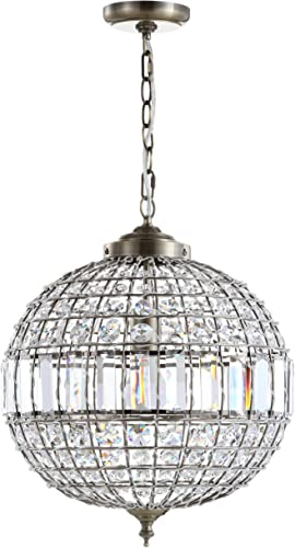 JONATHAN Y JYL6110B Georgina Crystal Metal LED Chandelier Pendant Glam,Contemporary,Transitional Dimmable, Adjustable, for Dining, Living Room, Kitchen, 16 , Antique Brass Clear